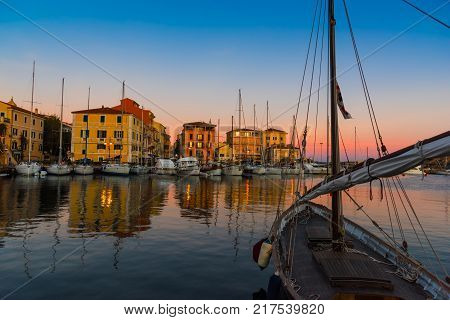 La Maddalena harbor at dusk. Sardinia Italy