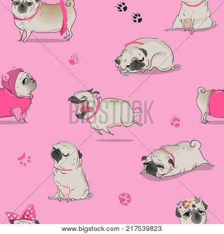 seamless pattern with cute cartoon pug. vector illistration