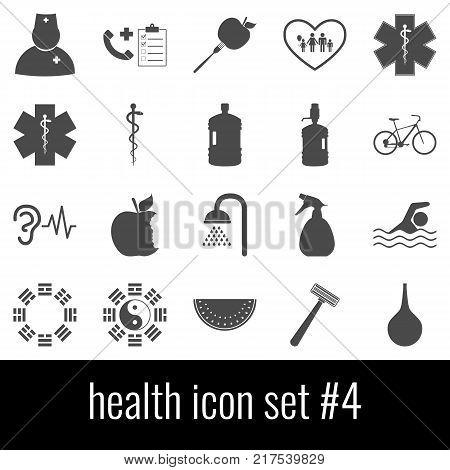 Health. Icon set 4. Gray icons on white background.