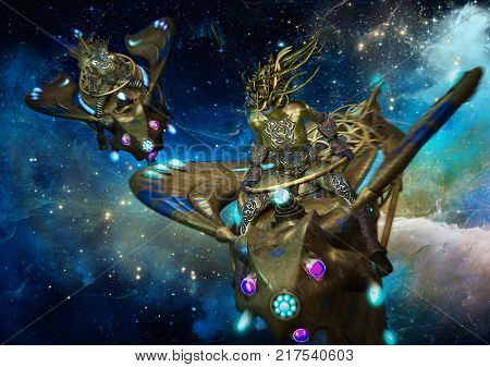3d computer graphics of a science fiction scene two female extraterrestrials on flying motorbikes