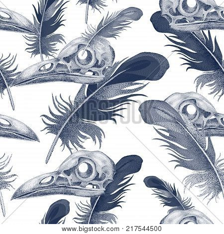 Seamless Vector Pattern With Skulls And Crow Feathers. Decorative Composition On The Theme Of Death