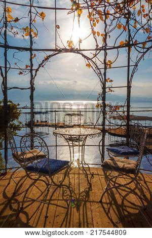 Cozy evening in Romantic arch for beloved couple near the red sea