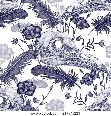 Seamless Pattern With Skulls Feathers And Flowers. Decorative Composition On The Theme Of Death In W