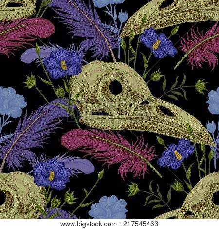 Seamless pattern with skulls feathers and flowers. Decorative composition on the theme of death on a black background.