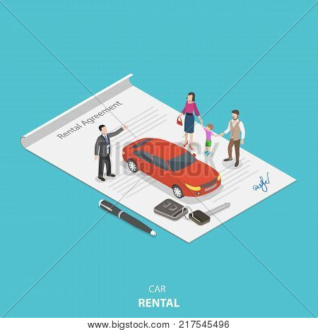 Vehicle rental flat isometric vector concept. Rental agent is describing the car rental condition to the young family standing on the rental agreement.