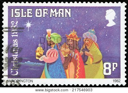 UNITED KINGDOM - CIRCA 1982: A stamp printed in the United Kingdom shows three shepherds and the Star of Bethlehem, Christmas, circa 1982