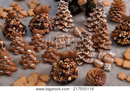 Christmas cookies trees and nuts.