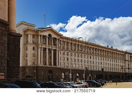 Sofia, Bulgaria - September 12, 2017: Architectural complex in downtown of Sofia in which the Presidential Administration is located, Sofia, Bulgaria