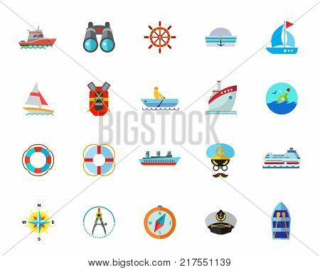 Sea voyage icon set. Can be used for topics like travelling, transportation, journey, vessel, port