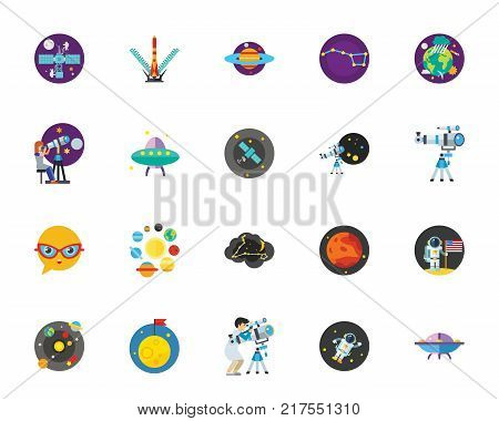 Space exploration icon set. Can be used for topics like science, cosmos, astronomy, cosmonautics