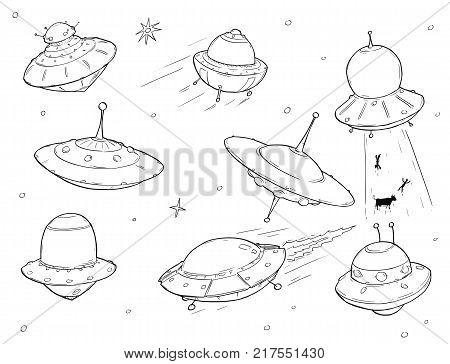 Set of cartoon vector doodle drawing of ufo alien space ships.