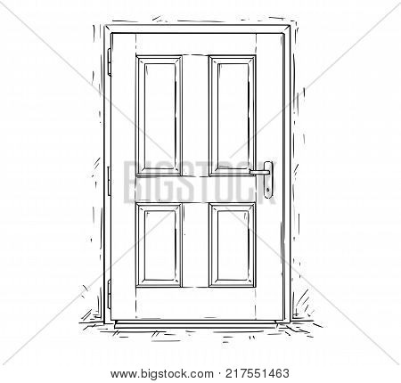 Cartoon Vector Of Two Open Wooden Decision Door