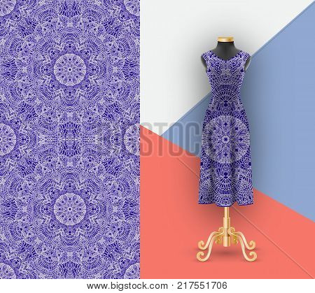 Fashionable seamless pattern for printing on textiles and paper. Mock up female dress with an ornament. Mannequin for demonstration. Vector illustration
