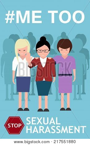 Sexual harassment poster with women. World social gender problem, womens right and sex discrimination vector illustration.