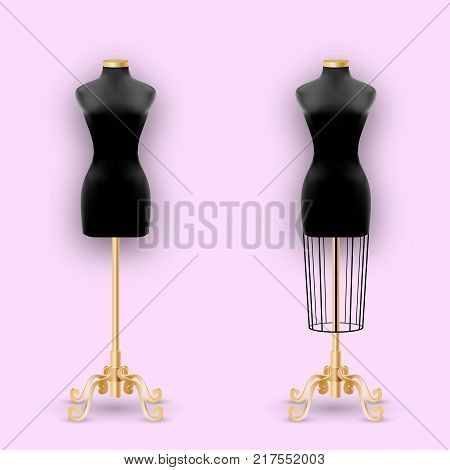 Fashion Mannequin or Dummies Black Silhouette For Sewing Women Fashionable Clothes Design Style. Dressmakers object for female body. Vector illustration poster