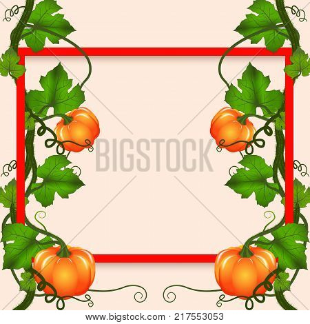 Bright banner for autumn sale with pumpkin curly whip on the frame. Vector illustration.
