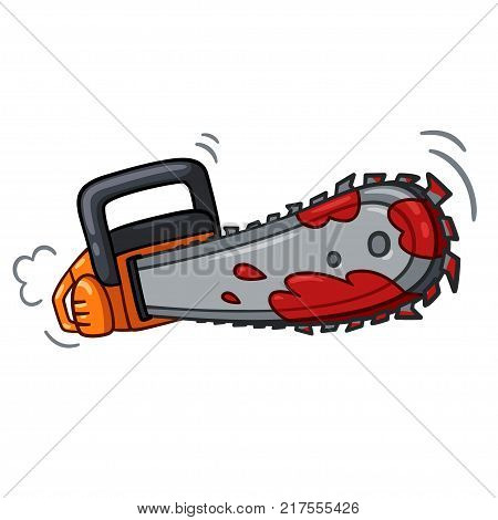 Bloody chainsaw drawing in cartoon comic book style. Halloween horror vector illustration.