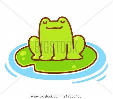 Cute little cartoon frog sitting on lily pad. Adorable chubby frog vector illustration.