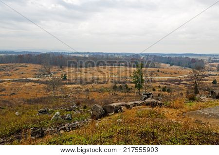 View of the Gettysburg Battlefield , the bloodiest site in the American Civil War.