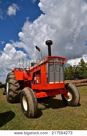ROLLAG, MINNESOTA, Sept 2. 2017: A beautiful restored D-10 Allis Chalmers tractor is displayed at the  annual WCSTR farm show in Rollag held each Labor Day weekend where 1000's attend.