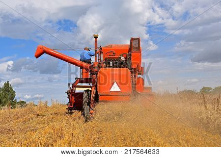 ROLLAG, MINNESOTA, Sept 2. 2017: An old Case self propelled combine is harvesting grain  at a field demonstrations at the annual WCSTR farm show in Rollag held each Labor Day weekend where 1000's attend.