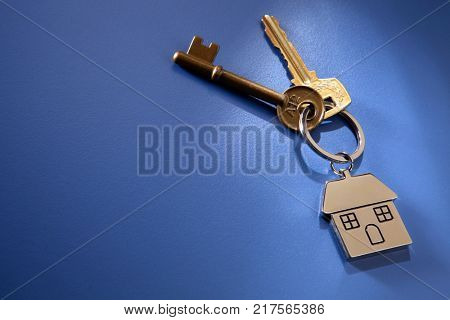 key and key ring with silver house shape