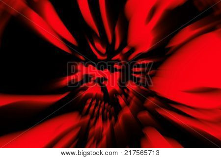 Rage zombie dead head cover. head. Illustration in genre of horror. Danger character face. Blur effect. Wall in red color.