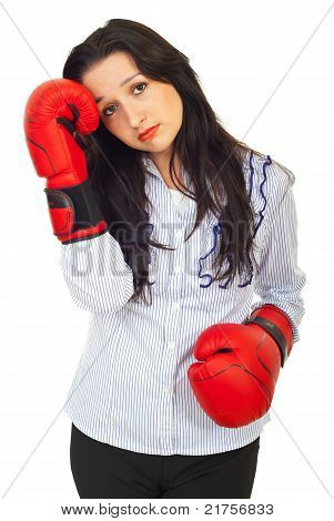 Sad Business Woman With Boxing Gloves