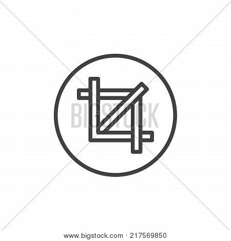 Crop line icon, outline vector sign, linear style pictogram isolated on white. Resize symbol, logo illustration. Editable stroke