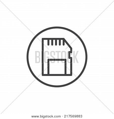 Memory card line icon, outline vector sign, linear style pictogram isolated on white. Sd card symbol, logo illustration. Editable stroke
