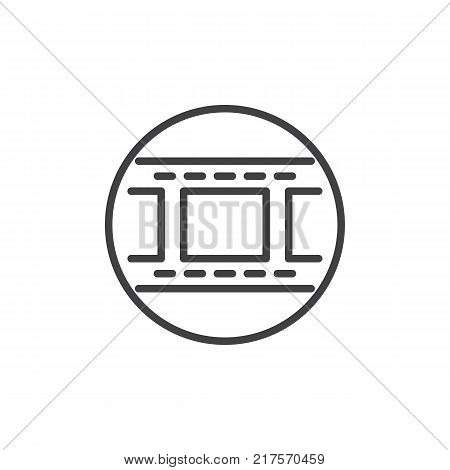 Camera roll film line icon, outline vector sign, linear style pictogram isolated on white. Filmstrip symbol, logo illustration. Editable stroke
