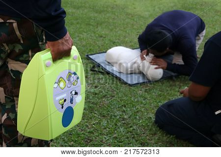 CPR and AED Automated External Defibrillator training for Rescue and first aid in Thailand.