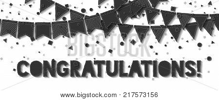Bunting Flags. Bewitching Celebration Card. Balck On White Holiday Decorations And Confetti. Bunting
