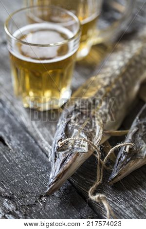 fish pike, dried, dried with a glass of beer