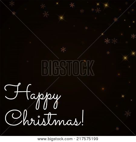Happy Christmas Greeting Card. Sparse Starry Snow Background. Sparse Starry Snow On Brown Background