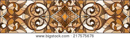 Illustration in stained glass style with abstract swirls and leaves on a light backgroundhorizontal orientation sepia