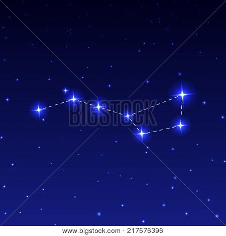 Constellation Big Dipper in the night starry sky. Vector illustration of the concept of astronomy