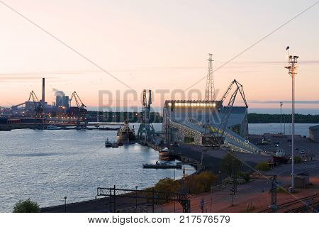 KOTKA, FINLAND - JUNE 04, 2017: June twilight at the sea center