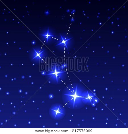 The Constellation Of The Bootes in the night starry sky. Vector illustration of the concept of astronomy