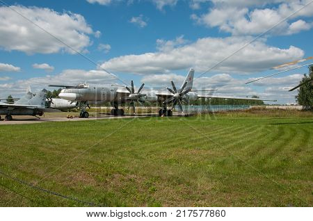 RUSSIA MOSCOW REGION MONINO - August 09 2017: Museum of the air force. Turboprop strategic bomber-missile-carrier Tu-95MS