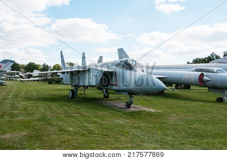 RUSSIA MOSCOW REGION MONINO - August 09 2017: Museum of the air force. The Yak-141 or article 48-3 (multipurpose supersonic all-weather carrier-based aircraft vertical/short takeoff and landing)