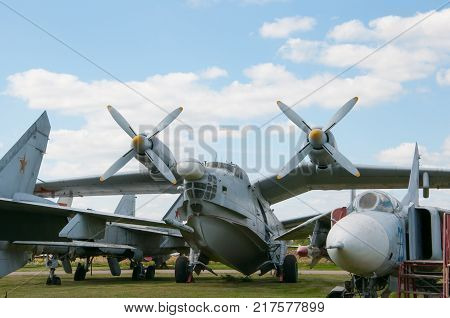 RUSSIA MOSCOW REGION MONINO - August 09 2017: Museum of the air force. Anti-submarine big amphibian be-12