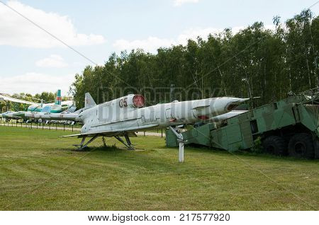 RUSSIA MOSCOW REGION MONINO - August 09 2017: Museum of the air force. Reusable tactical reconnaissance drone Tu-141