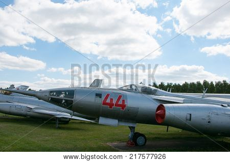 RUSSIA MOSCOW REGION MONINO - August 09 2017: Museum of the air force. part of the fuselage of a military aircraft fighter