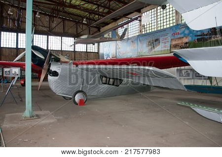 RUSSIA MOSCOW REGION MONINO - August 09 2017: Museum of the air force. ANT-2. The first flying prototype of the first all-metal aircraft in the USSR.