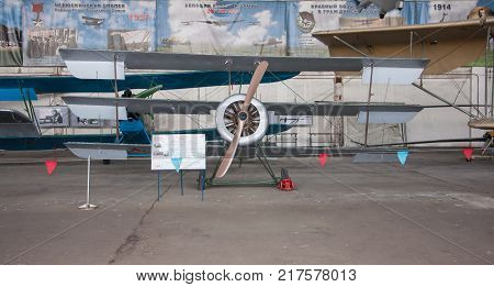 RUSSIA MOSCOW REGION MONINO - August 09 2017: Museum of the air force. Sopwith Triplane -- fighter-Triplane RAF during the First world war