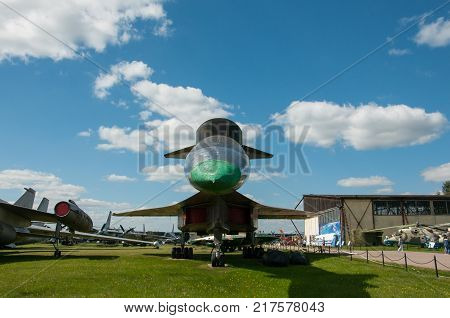 RUSSIA MOSCOW REGION MONINO - August 09 2017: Museum of the air force. Shock-reconnaissance bomber bomber Sukhoi T-4. front view