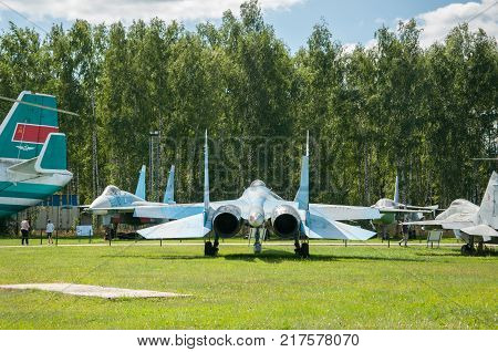 RUSSIA MOSCOW REGION MONINO - August 09 2017: Museum of the air force. the nozzles of the engines of military fighter