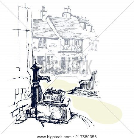 Old English water pump near cottage in a village. Vector illustration