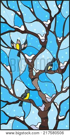 Illustration in stained glass style with bullfinches on titmouses of a birch tree against the sky and snow